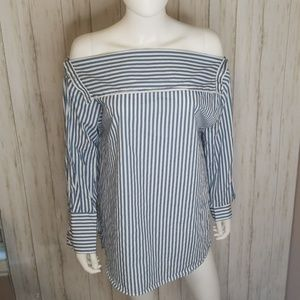 Zara Woman Striped Off the Shoulder Top